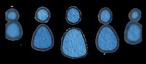 5 blaue Männchen, von innen nach aussen weniger scharf und kleiner werdend
