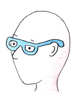 Ein Kopf eines Menschen der eine Hörbrille trägt. Der Bügel hinter dem Ohr berührt den Schädelknochen.