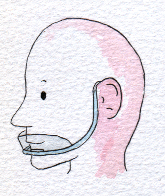 Pseudo-Maske am Kinn